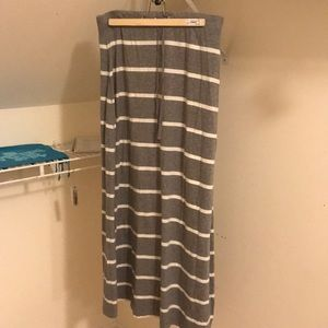 Women's grey and white striped maxi skirt